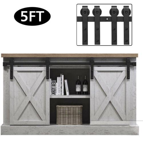 2//3//4//5//6.6FT Aluminum Sliding Barn Wood Door Hardware Kit Track Roller Cabinet
