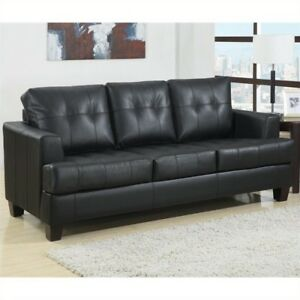 Coaster Samuel Leather Sleeper Sofa Bed In Black For