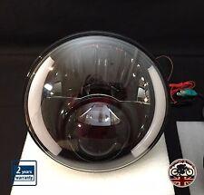 "MOTORBIKE 7"" LED HEADLIGHTS 48W E MARKED ANGEL EYE WITH DRL & INDICATOR"