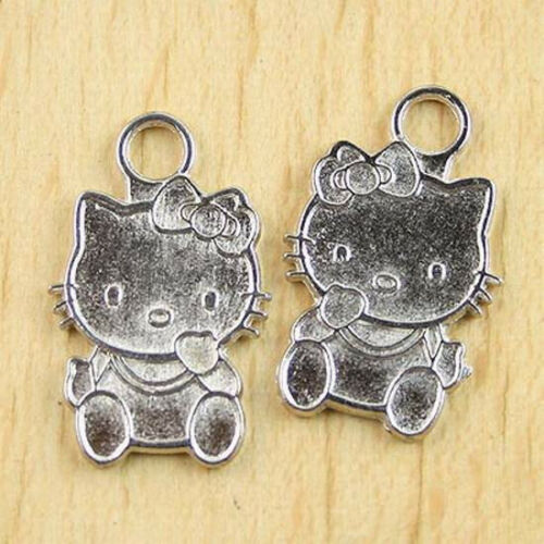 10pcs Tibetan silver hello KITI CAT beads H0171