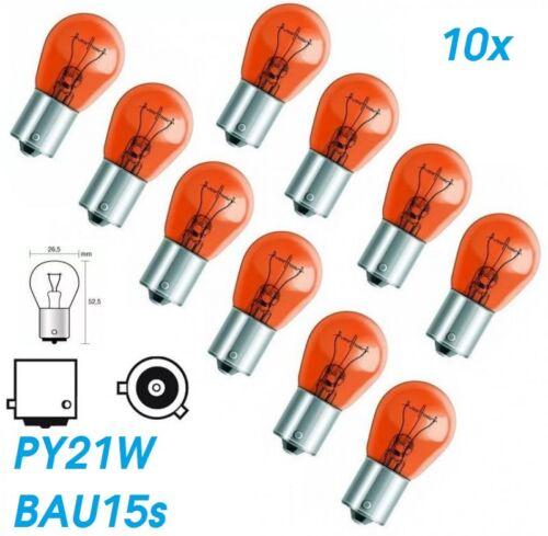 10x PY21W BAU15S 12V AMBER Glühlampe Birne Soffitte Beleuchtung Auto Lampe Glas