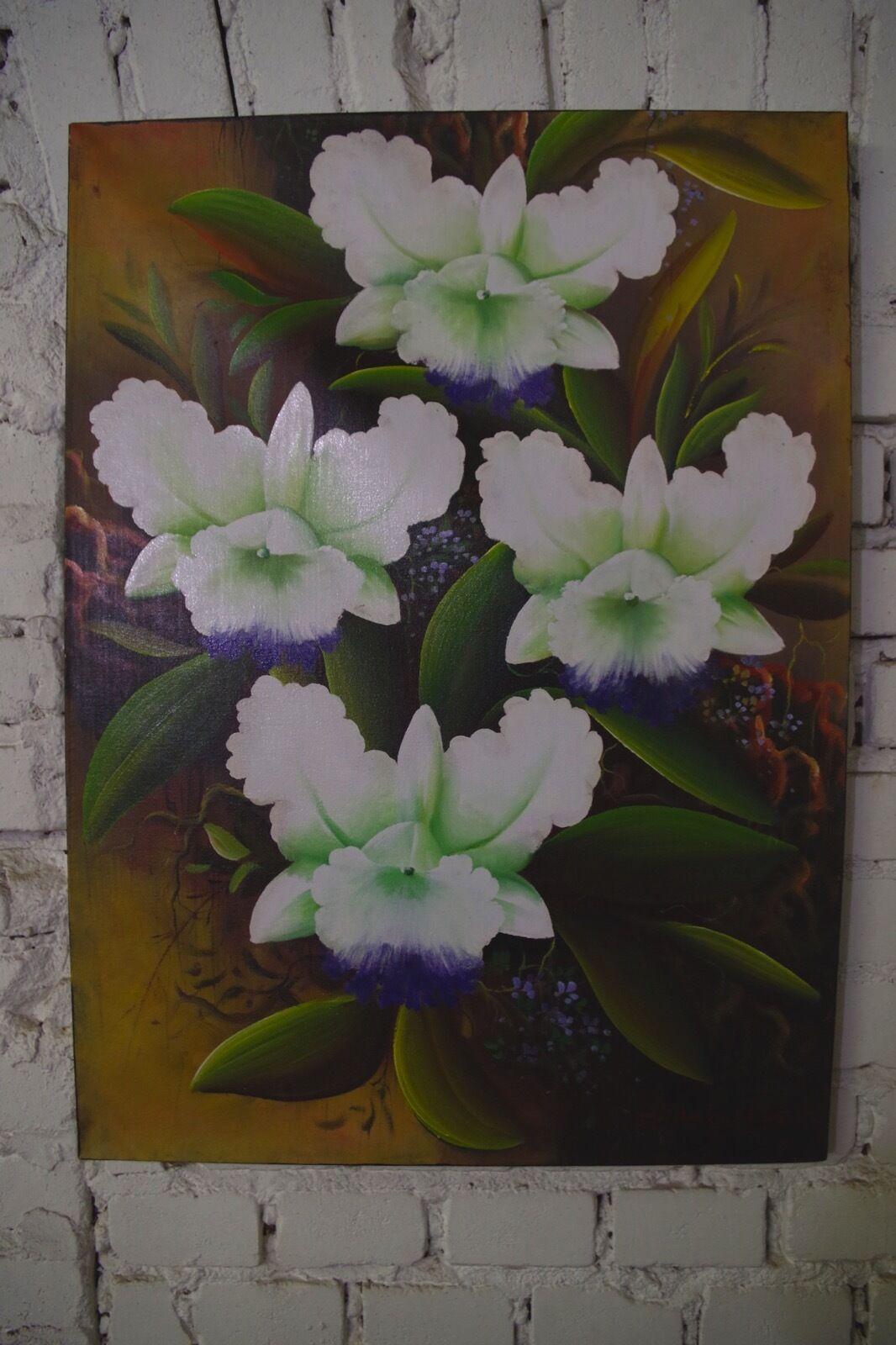 Peinture mur image huile à la main main main Bali fleurs vintage jungle 76x55cm eab64e
