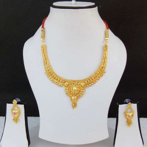 SOUTH INDIAN JEWELRY SET BOLLYWOOD ETHNIC GOLD PLATED BRIDAL NECKLACE EARRINGS