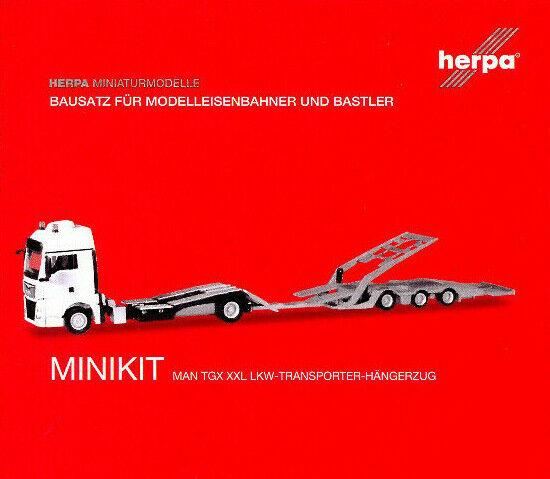 HERPA MiniKit 1:87 MAN TGX XXL LKW-Transporter-Hängerzug, weiß #013529 NEU/OVP