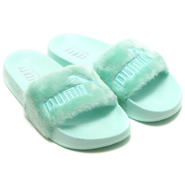 buy online ff214 ab103 PUMA Fenty X By Rihanna Womens Faux Fur Slides Ladies Cool Blue Green 365772