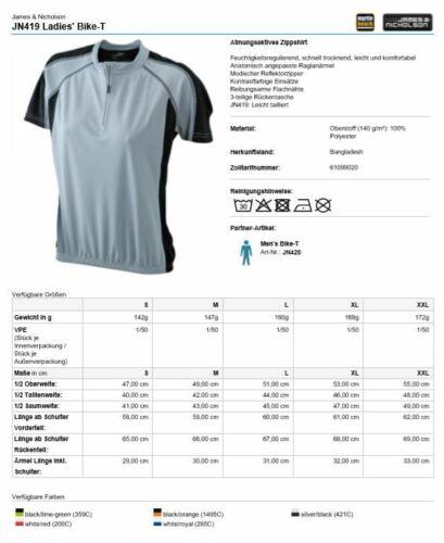 James Nicholson 419 Ladies Bike T-Shirt Fahrradtrikot Damen Frau 5 Farben S-2XL