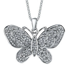 925 Sterling Silver CZ Large Butterfly Bling Cubic Zirconia Pendant Necklace