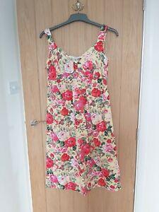 JOJO MAMAN BEBE Size 12 Maternity Yellow Floral Summer Dress 100% Cotton Holiday