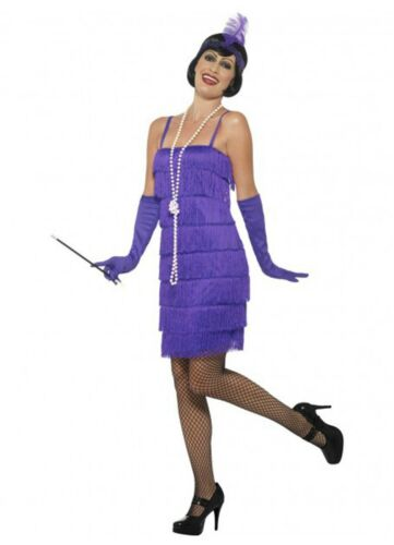 Womens 1920/'s Purple Fringed Flapper Costume 10,12,14,16,18,20,22,24,26 Plus