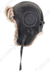 05db47c68cb Black Airman Leather Ushanka - Winter Russian Hat Ski Fur Pilot Military  Army