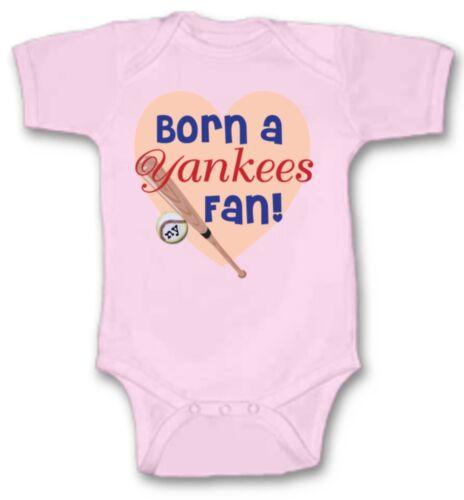 Born a Yankees Baseball Fan Baby Bodysuit Cute New Gift Choose Size /& Color