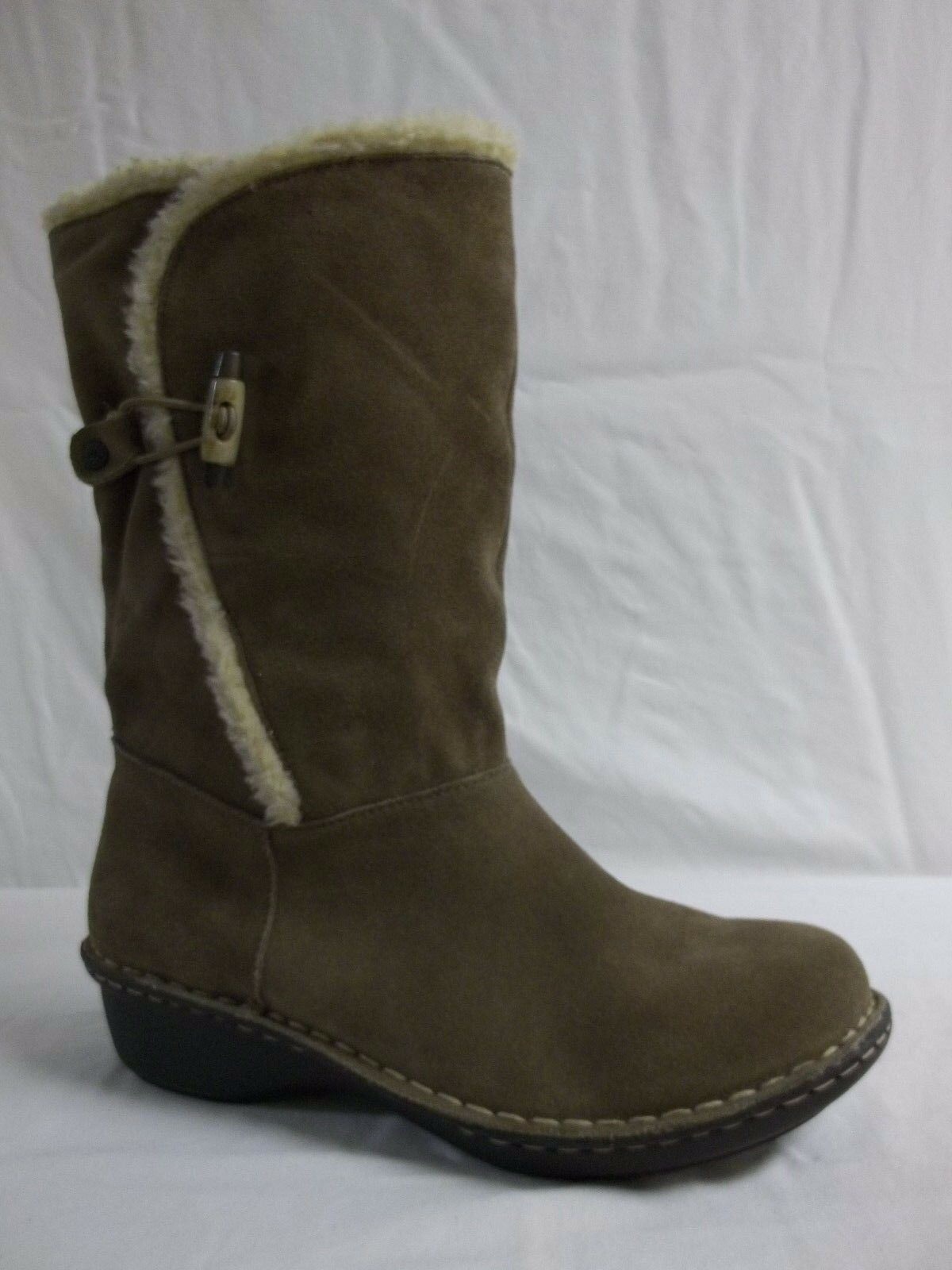 Anne Klein Size 9 M Kresent Taupe Suede Mid Calf Boots New Womens Shoes NWOB