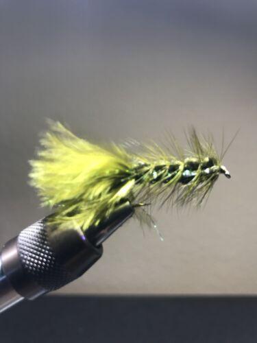 Hand Tied Woolly Bugger w// flash Sizes #4-14 Olive Trout Flies per 1 dozen