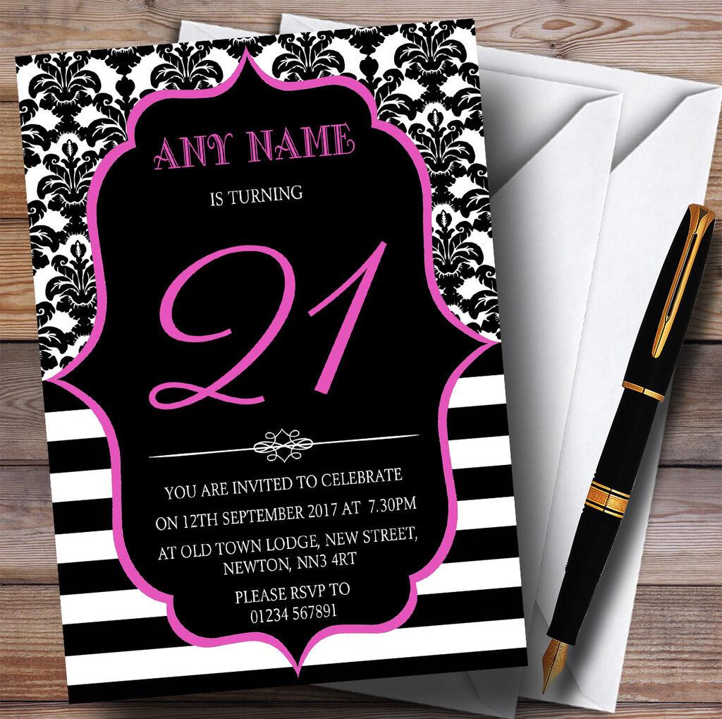Vintage damask rose personnalisé 21st personnalisé rose fête d'anniversaire invitations ba8353
