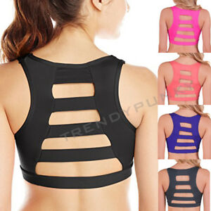 493a10fbdccd7 Ladder Back Padded Sports Bra Cutout Back Bralette Push Up Active ...