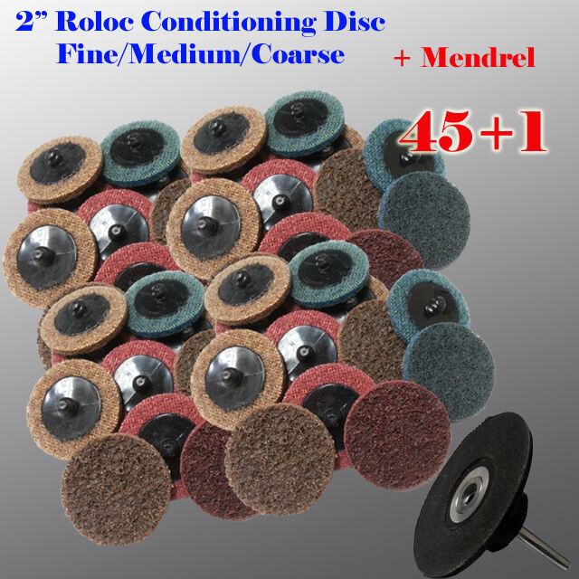 """50Pc 2/"""" Coarse Quick Change Surface Conditioning Prep Disc w// Roloc Holder USA"""