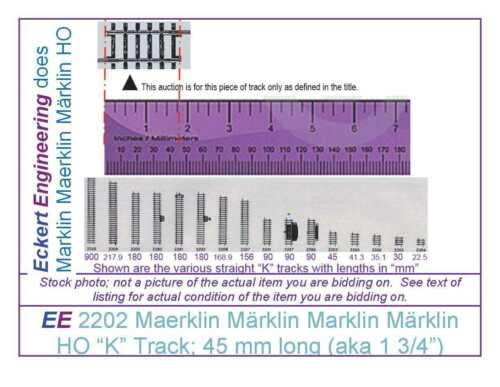 """aka 1 3//4"""" EE 2202 NEW Marklin Märklin 3 Rail """"K"""" Straight Track; 45 mm Long"""