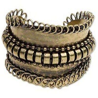 Avant Garde Antiqued Brass Statement Steampunk Ball Chain & Wire Cuff Bracelet