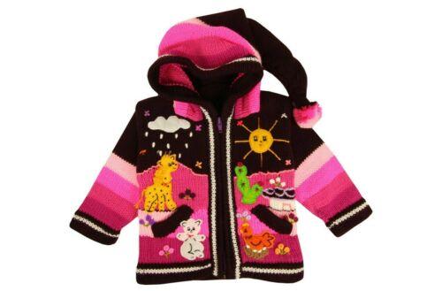 Peru Kinder Strickjacke lila Pink Kapuze Bauernhof Tiere Indianer Anden Neu Inka