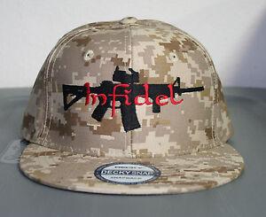 Desert Camo Infidel Ar 15 Hat Flat Bill Snapback Cap Digi