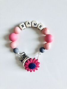 Baby Personalised Wooden//Silicone Dummy Clip Marble Pink Grey Baby Boy//girl