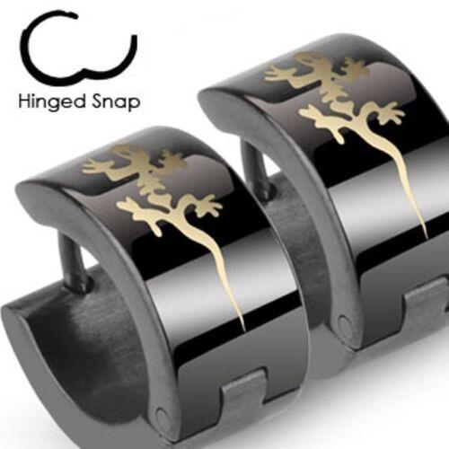 Mens Surgical Steel Black IP Huggie Hoop Hinged Earrings With Tribal Gecko