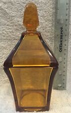 Vintage Amber Candy Dish with Lid ~ Square narrow