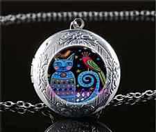 Cat And Bird Photo Cabochon Glass Tibet Silver Locket Pendant Necklace