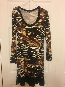 1ee1430f0d39 Women's Karen Kane Dress Animal Print Brown Long Sleeve Size Large L ...