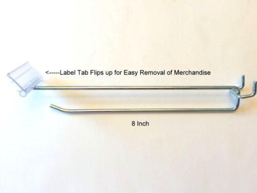 "500 PACK 8 Inch Flip Scan Metal Peg Hooks w//Label Holder 3//16/"" /& 1//4/"" Pegboard"