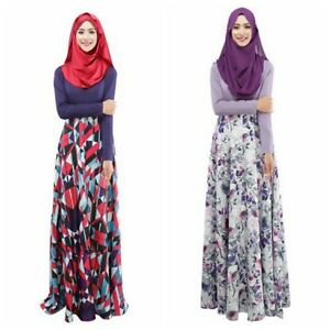 Long sleeve floral maxi dress muslim woman