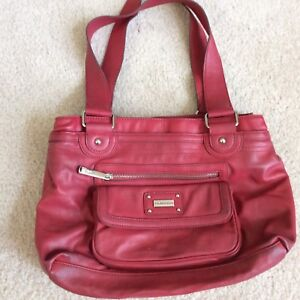 Tyler Rodan Purse Large Red Double Handle Tote Wpockets Shoulder