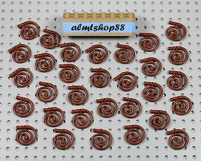 Lego mini figure 1 Reddish Brown curled whip town city