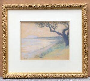 Dessin Original Ancien Pastel Henri BOYAME (1878-1948) Paysage Bord de Mer Cadre