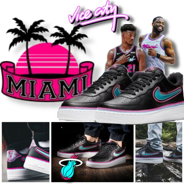 Nike AIR FORCE 1 AF1 'SOUTH BEACH' Miami Heat NBA Black Blue Gale Laser Fuchsia