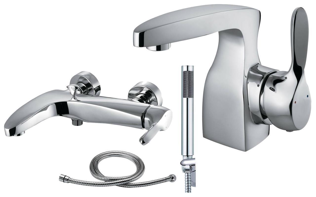 Design moderne salle de bains chrome bain douche Mélangeur & basin robinets Set (Spree 41)