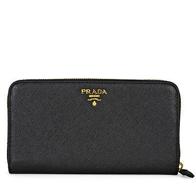 Prada Bi-fold Zip Saffiano Leather Continental Wallet - Black