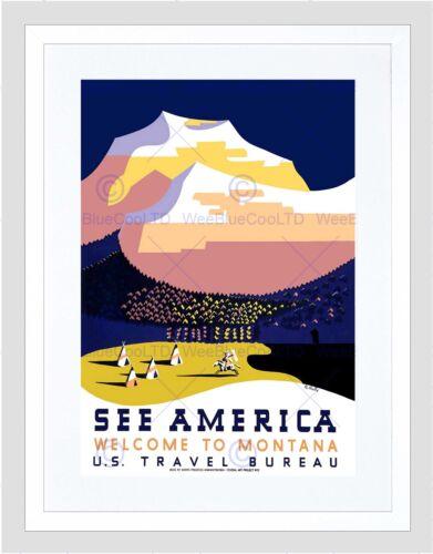 TRAVEL MONTANA MOUNTAIN AMERICA NATIVE TIPI BLACK FRAMED ART PRINT B12X6472
