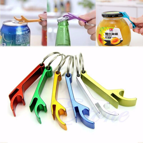 3x Key Chain Beer Bottle Can Opener Beverage Keychain Ring Claw Bar Pocket Tool