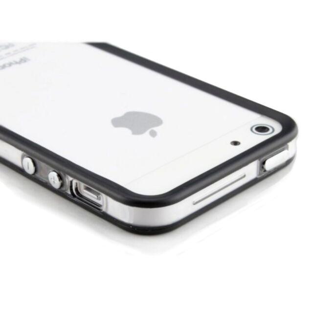 iPhone 5  5S Bumper Cover für Schutz Hülle Case Transparent Schwarz Silikon TPU