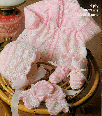 Delicate Two Tone Scalloped Baby Set Knitting Pattern Copy ...
