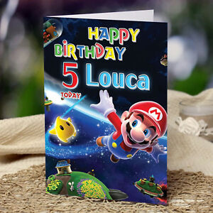 Extra Large Super Mario Bros A4 Size Personalised Birthday Card