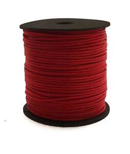 100m-Baumwollband-dunkelrot-1-5mm-rund-poliert-gewachst-auf-Rolle