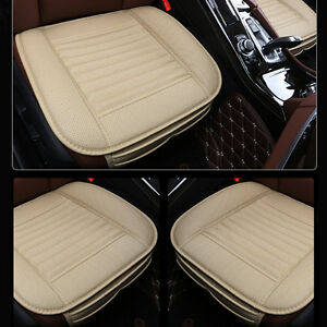 universal bamboo charcoal cushion seat pad pu leather auto car seat covers beige ebay. Black Bedroom Furniture Sets. Home Design Ideas