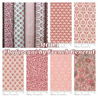 Moda French General 20th Anniversary Collection Pink Silhouette Floral 100/% C...
