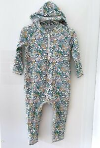 M&S Baby Girl Floral Long Sleeve Swim Suit With Hat UPF 50+ Size 6-9 Months