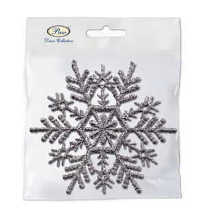 Christmas-Tree-Hanger-Snowflake-SILVER-10x10cm-6pcs-Festive-Decoration