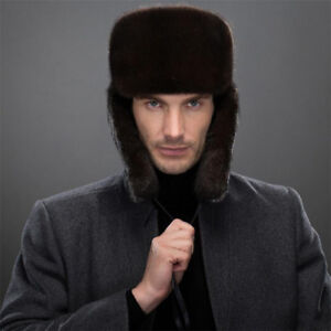 Mens Full-pelt Mink Fur Ushanka Bomber Hats Russian Style Winter ... 70abd2d2dfe4