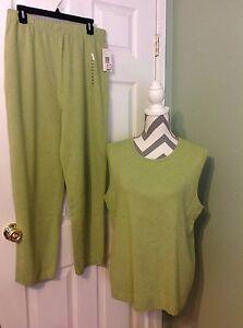 ~ e Outfit Top gilet taglia pantaloni cotone 2pc NWT 100 l Country Women's Shop M Suit ~ qzn0PHtB
