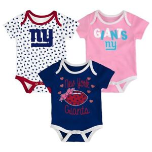 0f441361 Details about New York Giants NFL Baby Heart Fan 3-Pack Bodysuit Set Size  0-3 Months NWT